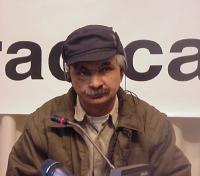 Umar Hawezv (condannato a morte dal regime iracheno, rifugiato politico) partecipa alla conferenza stampa con esponenti dell'opposizione democratica i