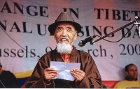 Manifestazione per la libertà del Tibet. Tanak Jigmé Sangpo,  prigioniero politico tibetano.