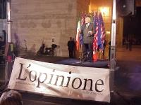 """Marco Pannella interviene alla maratona oratoria a Largo dei Lombardi, promossa dal quotidiano """"L'opinione, intitolata """"Alleati degli alleati"""", a prop"""