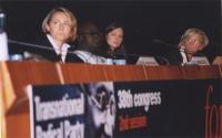 38° Congresso, II sessione. Elisabetta Zamparutti; Abdul Orok; miss Sofia Hedmark, Miss Sweden World; Emma Bonino.