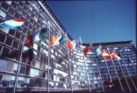 veduta del parlamento europeo con bandiere. Buona
