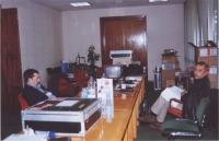 38° Congresso, II sessione. Rino Spampanato e Roberto Spagnoli, nell'ufficio di Radio Radicale, all'interno del Palazzo dei Congressi.