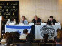 Incontro pubblico di Marco Pannella sulla campagna per l'ingresso di Israele nell'Unione Europea. Al tavolo, da sinistra: Matteo Angioli, Martin Shult