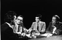 Dibattito televisivo con Toni Negri, Giovanni Negri ed Enzo Tortora (immagine ripresa dalla televisione).
