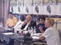 Assemblea degli iscritti a Nessuno Tocchi Caino. Al tavolo, da sinistra: Erping Zhang, Abdul Doloro, Sergio D'Elia, Marco Cappato,  Emma Bonino. Altre