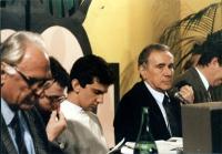 Marco Pannella, Peppino Calderisi, Giovanni Negri, Enzo Tortora, Massimo Teodori (tagliato dalla fotografia).