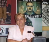 Blanca Gonzalez (madre di Normando Hernandez, un giornalista cubano condannato a 25 anni di reclusione) partecipa alla presentazione del rapporto 2003