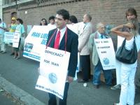 Manifestazione per la democrazia in Iran. In primo piano: Daniele Capezzone.