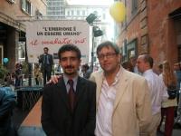 Carmelo Palma e Bruno Mellano (consiglieri regionali del Piemonte, della lista Bonino) partecipano alla staffetta oratoria davanti al Senato, mentre è