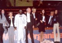 38° Congresso, II sessione. Da sinistra:Rebeka Dremelj, Miss Slovenia 2001; Elisabetta Zamparutti; Abdul Orok; Sergio D'Elia; Emma Bonino; Sofia Hedma