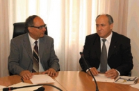 Incontro fra Umar Khanbiev e il vicepresidente e assessore alla Sanità della Provincia autonoma di Bolzano, Otto Saurer. (Foto USP/Pertl)