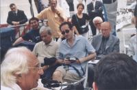 Gianfranco Cercone (al centro) nel corso della conferenza stampa di Marco Pannella e Daniele Capezzone, per il ripristino della legalità costituzional