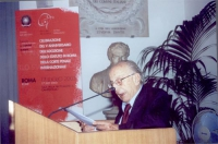 Sergio Stanzani alla celebrazione del V anniversario dell'adozione dello Statuto di Roma della Corte Penale Internazionale, presso la Sala della Proto