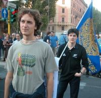 Mario Staderini e Matteo Angioli assistono al comizio anticlericale davanti a porta Pia, nella ricorrenza del 20 settembre.
