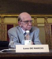 """Luigi De Marchi, al convegno: """"Il potere temporale della Chiesa cattolica 133 anni dopo"""" (presso la Sala del Cenacolo, Camera dei Deputati)."""