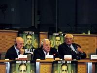 Missione di Nessuno Tocchi Caino al Parlamento Europeo. Nella foto, conferenza con Sergio D'Elia, George Ryan (già governatore dell'Illinois), Marco P