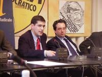 Conferenza stampa di denuncia sulla mancata informazione circa il referendum di prossima votazione, relativo all'art 18. Nella foto: Daniele Capezzone