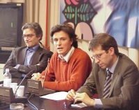 Conferenza stampa di denuncia sulla mancata informazione circa il referendum di prossima votazione, relativo all'art 18. Nella foto: Maurizio Turco, D