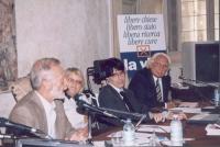 """Giornata anticlericale. Presentazione del libro di Luca Coscioni, """"Il maratoneta"""". Al tavolo, da sinistra: Luigi Lombardi Vallauri, docente di Filosof"""