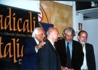 """Presentazione, presso la sede di Torre Argentina, del libro di Daniele Capezzone """"Uno shock radicale per il 21° secolo"""". Nella foto:  Marco Pannella,"""
