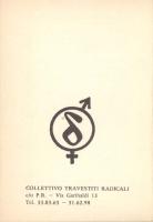 Opuscolo intitolato: Manuale di autodifesa del travestito, a cura del Collettivo Travestiti Radicali. Retro.