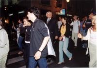 Marcia anticlericale da porta Pia a piazza San Pietro. Fra i partecipanti:  Marco Pannella. In primo piano: Matteo Angioli. A destra, tagliata dalla f