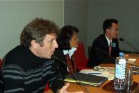 Conferenza su: Il Laos e i diritti dell'uomo, al palazzo del Lussemburgo. Thierry Falise – Vanida S. Thephsouvanh – Reverend Naw-Karl Mua