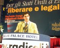Secondo Congresso di Radicali Italiani. Alla tribuna: Daniele Capezzone.