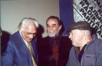 Marco Pannella, Vittorio Gassman, Paolo Villaggio, nel corso di una manifestazione al cinema Adriano, per la campagna di iscrizioni al PR.
