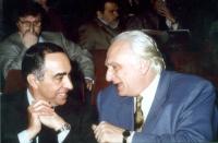 Marco Pannella e Franco Carraro,  nel corso di una manifestazione al teatro Adriano, per la campagna di iscrizioni al PR.