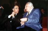 Franco Carraro e Marco Pannella, a una manifestazione al teatro Adriano per la campagna di iscrizioni al PR.