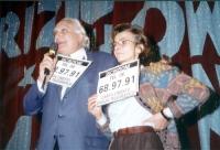 Marco Pannella ed Emma Bonino, in occasione di una manifestazione radicale al Teatro Parioli, per la campagna di iscrizioni al PR.