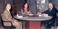 tribuna politica in televisione con Pannella, Almirante (MSI) e una moderatrice