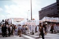 """Manifestazione per gli Stati Uniti d'Europa e """"pour une politique europeenne contre l'extermination per la faim""""."""