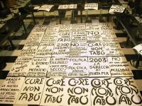 Cartelloni di una manifestazione radicale davanti al Senato, in occasione della discussione della legge sulla procreazione assistita (esposti nel salo