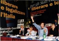Secondo Congresso dei Radicali Italiani. Votazioni. Al tavolo, da sinistra: Marco Pannella, Emma Bonino, Marco Cappato, Rita Bernardini.