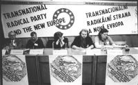 """Seminario internazionale: """"Il Partito Radicale transnazionale e la nuova Europa"""". Da sinistra: ???, Nikolaj Khramov, Adelaide Aglietta, Stockar, Podle"""