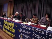 Convegno radicale europeo presso il Crowne Plaza Hotel. Al tavolo di presidenza, da destra: Marco Cappato, Daniele Capezzone, Maurizio Turco, Marco Pa