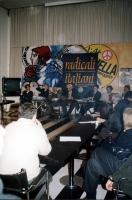 Conferenza stampa sul digiuno di Marco Pannella per la questione della grazia ad Adriano Sofri. Al tavolo sul fondo, da sinistra: Attila Tanzi (docent