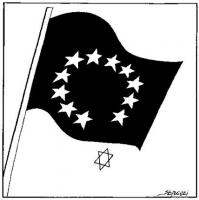 """Vignetta apparsa sul quotidiano """"Le Monde"""", raffigurante una bandiera con il cerchio stellato, emblema dell'Unione Europea, cui affluisce la stella di"""