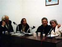 Visita di Marco Pannella ad Adriano Sofri, presso il carcere Don Bosco di Pisa. Nella foto: Pannella, Donatella Poretti, Sofri, Manuela Fabbri. Altre