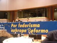 """Convegno promosso dai parlamentari europei radicali: """"Per la Riforma federalista europea"""", al Parlamento Europeo. Al tavolo di presidenza: Maurizio Tu"""