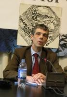 Conferenza stampa di Olivier Dupuis, al 33° giorno di sciopero della fame, a sostegno di un piano di pace negoziale fra Russia e Cecenia.