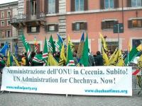 Manifestazione davanti a palazzo Chigi a sostegno dell'appello per un'amministrazione dell'ONU in Cecenia. Altre digitali.
