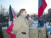 """Nikolaj Khramov interviene alla manifestazione """"Per la Russia senza Putin"""", organizzata dal movimento """"Per i diritti dell'uomo"""", dai """"Radicali Russi"""","""