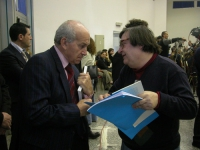 Fausto Bertinotti a colloquio con Nicolino Tosoni, nel corso della Convenzione dei Radicali all'hotel Ergife.