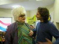Platinette e Mario Staderini a colloquio durante la Convenzione dei Radicali all'hotel Ergife.