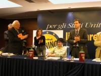 Marco Pannella, la moglie di Coscioni e Benedetto Della Vedova, applaudono Luca Coscioni al termine del suo discorso alla Convenzione dei Radicali all