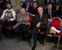 Sergio Stanzani e Giuliano Amato alla Convenzione dei Radicali all'hotel Ergife.
