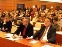 De Michelis, Bobo Craxi, nella platea della Convenzione dei Radicali all'hotel Ergife.